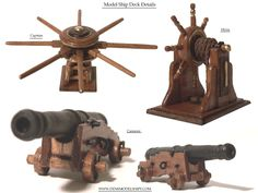 Deck Details, Capstan, Cannons, and the Ships Helm Model Sailing Ships, Old Sailing Ships, Model Ships, Ocean Sailing, Model Ship Building, Boat Building, Ship Mast, Ship In Bottle, Pirate Boats