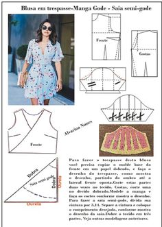 Vestido com blusa em manga gode e saia Dress Sewing Patterns, Clothing Patterns, Sewing Clothes, Diy Clothes, Costura Fashion, Do It Yourself Fashion, Make Your Own Clothes, Column Dress, Fashion Sewing