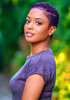 Natural Hair Updos for African American Short Hair - Short Pixie Haircuts Natural Hair Short Cuts, Short Natural Haircuts, New Natural Hairstyles, Short Curly Hair, Short Pixie, Short Hair Cuts, Curly Hair Styles, Natural Hair Styles, Natural Beauty