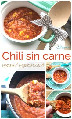 Chili sin carne | vegetarisches Chili | Thermomix Rezept Slow Food, Spicy Stew, Hottest Chili Pepper, Chili Recipes, Curry, Beef, Stuffed Peppers, Ethnic Recipes, Ideas