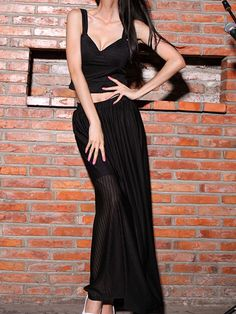 Black Plain Strap Crop Top with Long Skirt