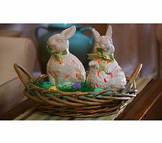 Ceramic Bunny with Flameless Candle & Bow By Home Reflections — QVC.com