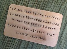 Copper hand stamped wallet card Winnie-the-Pooh love quote gift #Etsy