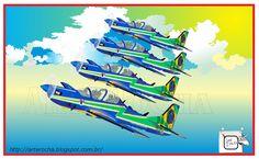 AVIÕES DA ESQUADRILHA DA FUMAÇA Mostrando outra visualização do Avião Super Tucano A-29, da Força Aérea Brasileira-FAB. Modelo atualmente em operação da Esquadrilha da Fumaça-Brasil. Desenho - Ilustração - Illustration - Drawing http://arterocha.blogspot.com.br