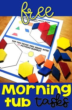 Are you tired of the marking associated with morning work? Try morning tubs instead! This is a set of free morning tub task cards for pattern blocks. First grade and second grade students will fill th Math Activities For Kids, Montessori Activities, Hands On Activities, Morning Activities, Math Games, Primary Teaching, Teaching Math, Teaching Resources, Maths