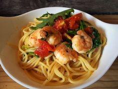 Hallo Italien l Spaghetti mit Gambas Tomaten und Rucola