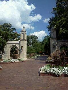 """Main entrance to the Indiana University - Bloomington Campus in Indiana, USA. Founded by the Indiana state government in 1820 as the """"State Seminary."""""""