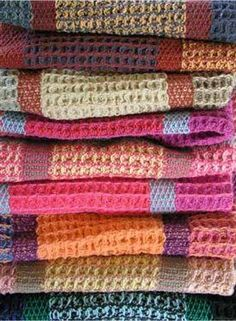 Instructions for weaving these colorful waffle weave towels by Rosalie Nielson