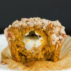 Pumpkin and Cream Cheese Muffins with Pecan Streusel via @browneyedbaker