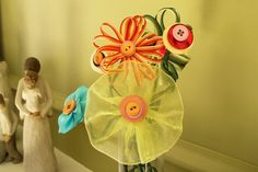 Ribbon and button daisies from Hope Studios