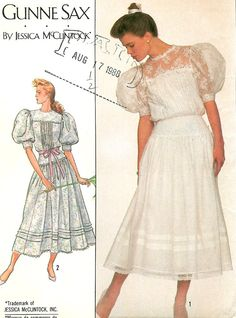 Jessica McClintock Gunne Sax- Simplicity sewing pattern Misses lace trimmed dress has tucked skirt gathered to yoke with back zipper, front tuck Simplicity Sewing Patterns, Vintage Sewing Patterns, Clothing Patterns, Fabric Patterns, Dress Patterns, Gunne Sax, Jessica Mcclintock, Laura Ashley Wedding Dress, 20th Century Fashion