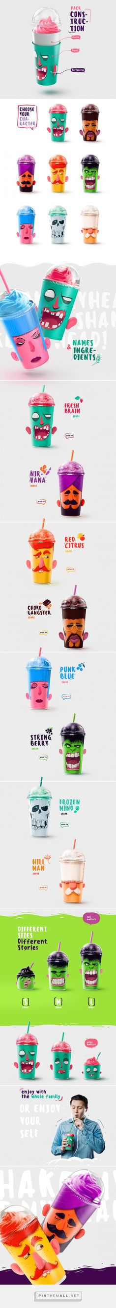 Fun! Shake My Head Milkshakes packaging design by Rustam Usmanov (Russia) - http://www.packagingoftheworld.com/2016/06/shake-my-head-milkshakes.html