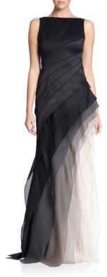 Halston Heritage Satin & Organza Tiered Degrade Gown