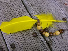 YELLOW SMUDGE FEATHER WaND with WoOd BEAdS by TheMagickHearth, $11.77