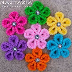 DIY Free Pattern and YouTube Tutorial for Crochet Kanzashi Flower - Japanese Flowers - by Donna Wolfe from Naztazia