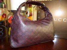 100% Authentic Gucci Dark Brown Guccissima Leather Chain Bag  115867