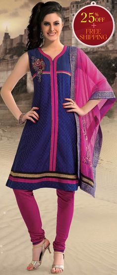 Royal #Blue #Cotton Readymade #Churidar Kameez @ $ 83.33