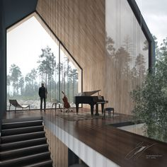 "Check out this @Behance project: ""The foggy lake house's interiors""…"