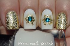 Gold Foil and stamping nail art by More Nail Polish blog