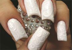 #nail #nails #nailart #unha #unhas #unhasdecoradas #white #branco Gel-On-Gel-Polish Nail Art www.nailsmag.com
