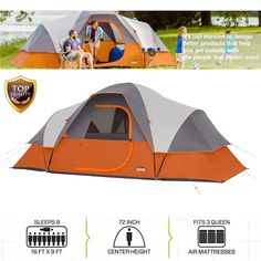 Camping Tent Family 9 Person 16 x 9 Large Dome Waterproof Cabin Hiking Outdoor