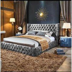 Rosalind Wheeler Lochlan Upholstered Bed Frame | Wayfair.co.uk Unique Bed Frames, Bed Frame Parts, Wingback Bed, Upholstered Bed Frame, Tufted Bed, Dressing Table Set, Wood Beds, Colorful Interiors, Pink