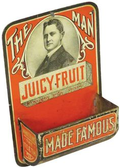 "Juicy Fruit ""The Man"" Tin Litho Match Holder. 3 X 4 on Apr 2016"