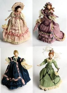 Dollhouse Dolls       Four diminutive sisters each dressed in ballroom finery long to reside in a petite palace amongst the miniatures. Ideally suited for youthful imaginations ...for playful gals aged five through ninety five years young. Porcelian dolls with hand painted faces. 6½ in. tall.