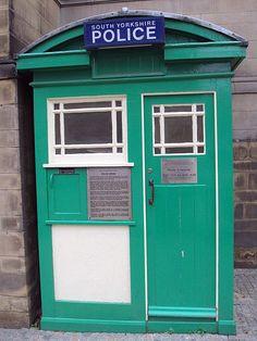 Police box on Surrey Street, Sheffield, England. www.welcometosheffield.co.uk/visit