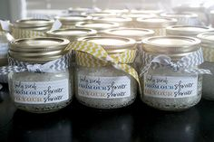 Body Scrub Party Favors with Free Printable Label! (I did these for wedding shower gifts-they were a hit!! So we included them in the gift bags at the hotel for wedding guests)