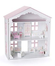 Look what I found on #zulily! Pink & White Wooden Dollhouse #zulilyfinds