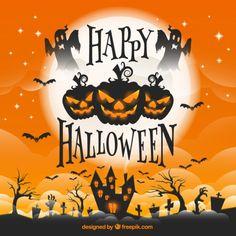 Tarjeta de felicitación de Halloween Vector Gratis
