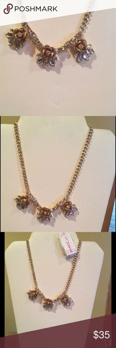 """NWT Betsey Johnson Luminous Glitter Rose Necklace NWT Betsey Johnson """"Luminous Glitter Rose"""" gold tone necklace; 3"""" extender chain; shimmers beautifully; clear stones; would make for a great Necklace for prom or any special occasion Betsey Johnson Jewelry Necklaces"""