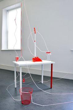 Caroline McCarthy, Group Coordination (Red), installed at the Irish Museum of Modern Art, 2014 Museum Of Modern Art, Irish, Group, Artwork, Red, Furniture, Home Decor, Art Work, Work Of Art