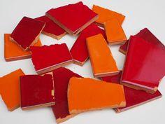 900g Bruchmosaik, Mosaikfliesen aus handgefertigten mexikanischen Fliesen - Rot- und Orangetöne: Amazon.de: Baumarkt