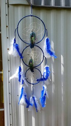Check out this item in my Etsy shop https://www.etsy.com/listing/448997136/hand-made-dreamcatcher-with-blue-white