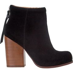 JEFFREY CAMPBELL Rumble Ankle Boot Black Suede (2.205 UYU) ❤ liked on Polyvore featuring shoes, boots, ankle booties, women, ankle boots, high heel boots, black suede ankle booties, black booties, high heel ankle boots and jeffrey campbell booties