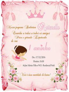1 Year Birthday, Baby Shawer, Balerina, Ideas Para Fiestas, Princess Sofia, Care Plans, Diy Projects, Invitations, Party