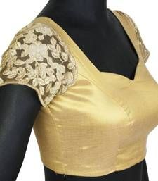 Buy Gold blouse with embroidered sleeves. TBF_CT_01. Non Padded readymade-blouse online
