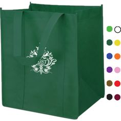 """Grocery square tote bag, 13"""" w x 10"""" d x 15"""" h. Super strong 80 GSM non-woven polypropylene material. Large open main compartment tote bag with inner bottom board to prevent any wear and tear. Reusable and recyclable. Great gift and giveaways in trade shows!  PLEASE NOTE: The Plastic Inserts that come with each grocery bag will not be inserted into each bag. They will be packed loose at the bottom of each case."""