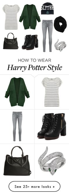 """Slytherin"" by mylifeastamara on Polyvore featuring AG Adriano Goldschmied, Prada, Effy Jewelry, Wyatt, Mint Velvet, harrypotter, slytherin and hogwarts"