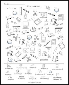 Spanish Vocabulary Picture Search: Spanish classroom vocabulary. Free printable in the post, with ideas for Spanish listening activities and more. http://spanishplayground.net/spanish-classroom-vocabulary-picture-search/