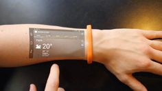 Cicret, an Android powered smart bracelet that forgoes the tiny display of a typical smartwatch and projects a smartphone-size touchscreen onto the skin - DesignMilk Futuristic Technology, Wearable Technology, Technology Gadgets, New Technology, Technology Design, Energy Technology, Futuristic Phones, Fashion Technology, Business Technology