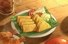 Tempe Penyek, Indonesian Food 😀 From pixiiv Cute Food, Yummy Food, Anime Bento, Food Doodles, Food Cartoon, Watercolor Food, Food Painting, Food Drawing, Indonesian Food