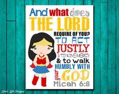 Seek Justice, Love Mercy, Walk Humbly. Micah 6:8. Superhero Wall Art. Superhero Girls Decor. Superhero Decor. Christian Bible Verse. Girls
