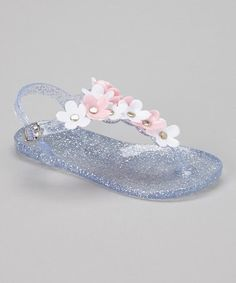Another great find on #zulily! Clear & Light Pink Daisy Jelly T-Strap Sandal by Chatties #zulilyfinds