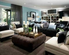 how to decorate around the black leather couch | For the Home ...