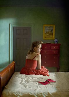 "Edward Hopper, ""Woman with book and letter"" remake.  Photographer: Richard Tuschman"