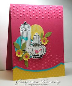 Supplies:  Cardstock - Melon Mambo, Tempting Turquoise, Daffodil Delight  Ink - Melon Mambo, Tempting Turquoise, Black StazOn  Stamps - Aviary  Accessories - Circle Punches, Boho Blossoms Punch, Rhinestones, Brights Patterned Paper, Adorning Accents Embossing Folders, Adorning Accents Die, Little Leaves Die, Cupcakes Builder Punch (for the centers of flowers)
