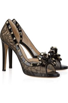 VALENTINO  Studded leather and lace pumps